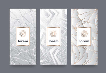 Un ensemble de modèles vectoriels d'emballage avec une texture différente pour les produits de luxe.Logo design avec style linéaire tendance. Illustration vectorielle Banque d'images - 75753621