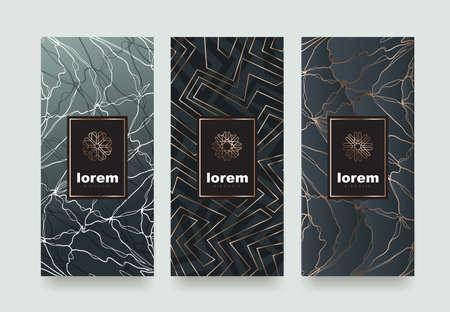 Définissez des modèles d'emballage avec une texture différente pour les produits de luxe.Logo design avec style linéaire tendance. Illustration vectorielle Banque d'images - 75753622