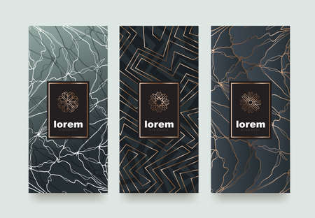 Set packaging templates with different texture for luxury products.logo design with trendy linear style.vector illustration Çizim