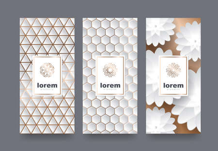 Packaging templates with different texture for luxury products.logo design with trendy linear style.vector illustration