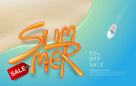 Light blue summer sale background layout with balloon font design for banners,Wallpaper,flyers, invitation, posters, brochure, voucher discount.Vector illustration template. Illustration