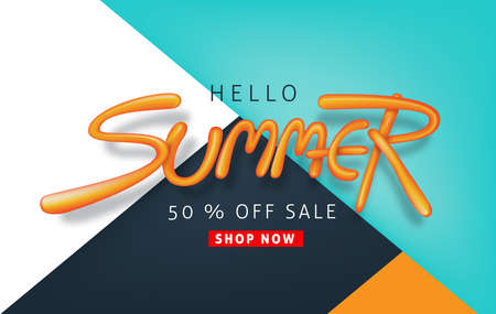 Poster of a Summer sale background layout with balloon font design for banners.