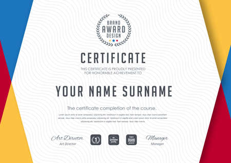 Certificate template with luxury and modern pattern, diploma, Vector illustration Иллюстрация