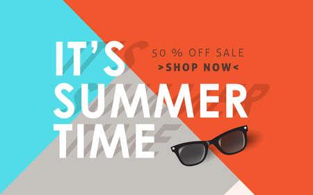 夏販売背景レイアウト banners.voucher 割引。ベクトル イラスト テンプレートです。  イラスト・ベクター素材