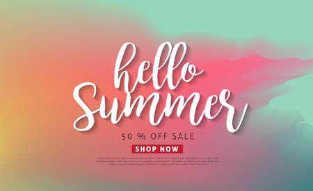 Fondo de venta de verano diseño banners.voucher discount.Vector ilustración plantilla.