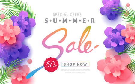 Summer sale layout banners for voucher discount. vector illustration template