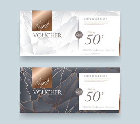 Gift Voucher discount template with luxury pattern. Ilustrace