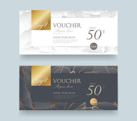 Gift Voucher discount template with luxury pattern.Vector template for gift card premium pattern. Vector illustration. Zdjęcie Seryjne - 78340292