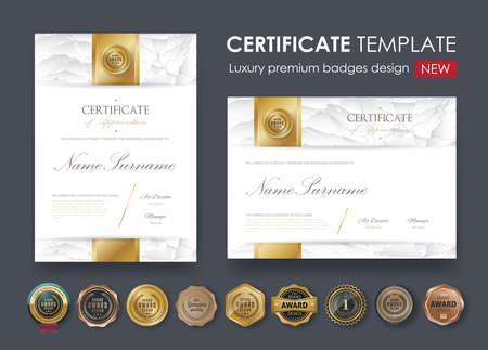 与豪华样式,文凭,传染媒介例证和传染媒介豪华优质徽章设计,套减速火箭的葡萄酒徽章和标签的证明模板。