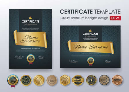 Certificate template with luxury pattern, diploma.  Vector illustration.