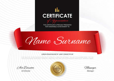 Certificate template with red ribbon decoration vector illustration