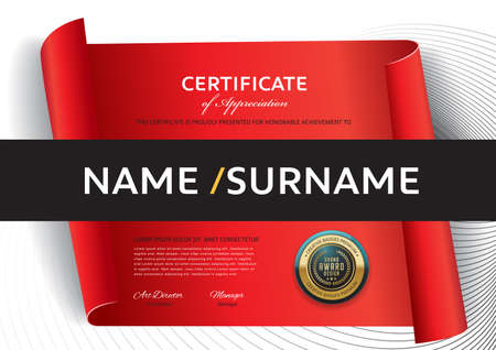 certificate template with red ribbon decoration,diploma,Vector illustration and vector Luxury premium badges design,Set of retro vintage badges and labels. Иллюстрация