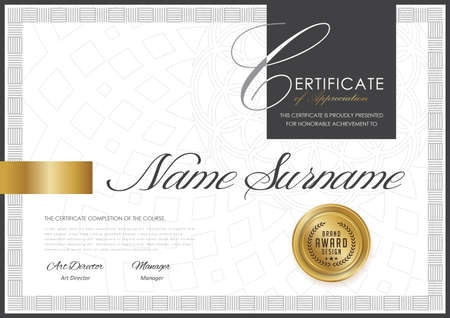 Certificate template with luxury pattern, diploma, Vector illustration. 向量圖像