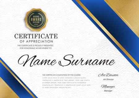Certificaat sjabloon met luxe patroon, diploma, Vector illustratie. Stock Illustratie