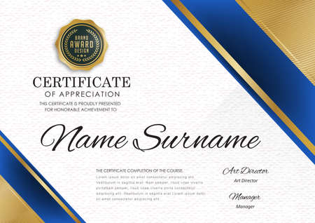 Certificate template with luxury pattern, diploma, Vector illustration. Illustration