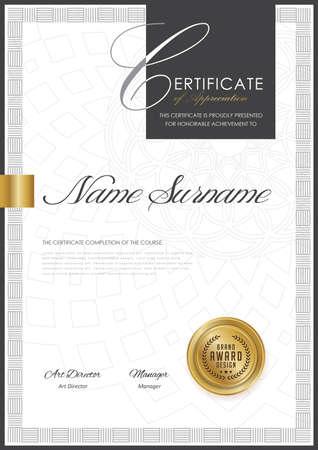 Modèle de certificat avec motif de luxe, diplôme, illustration vectorielle. Banque d'images - 80569678