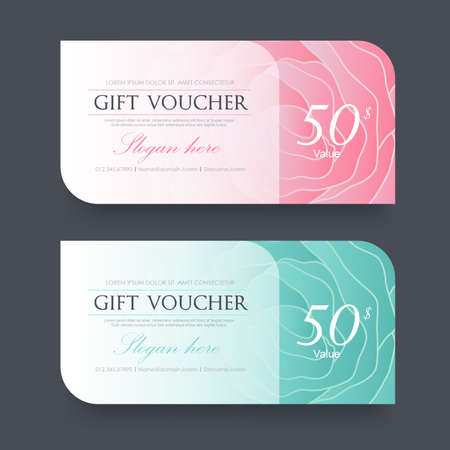 Gift voucher template with colorful pattern,Vector illustration