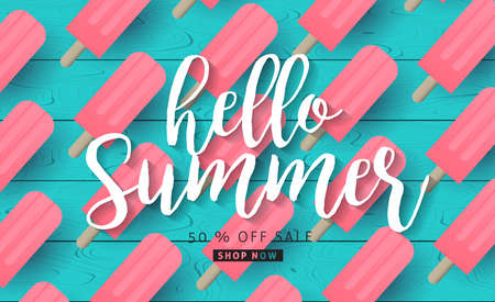 Summer sale background layout banners with ice cream on wood texture background.voucher discount.Vector illustration template.