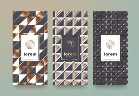 Vector Set Verpackung Vorlagen mit verschiedenen Textur für Luxus products.logo Design mit trendigen linearen style.vector Illustration Standard-Bild - 81813056