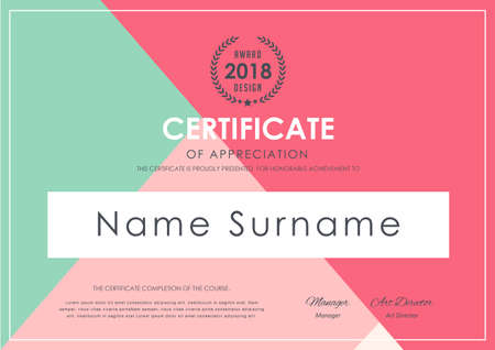 A certificate template with colorful pattern,diploma,Vector illustration.