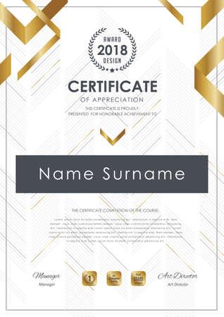 Zertifikatvorlage mit Luxusmuster, Diplom, Vektorillustration. Standard-Bild - 81962688