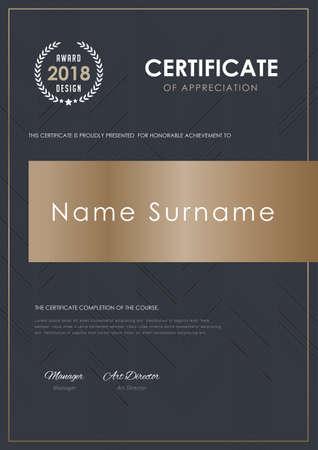 Zertifikatvorlage mit Luxusmuster, Diplom, Vektorillustration. Standard-Bild - 81962690