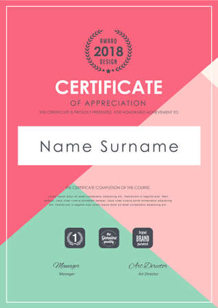 certificate template with colorful pattern,diploma,Vector illustration.