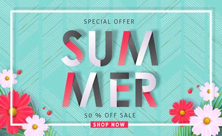 Summer sale background layout banners .voucher discount.Vector illustration template. Vettoriali
