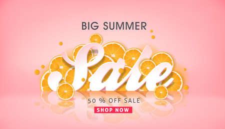 夏天销售背景布局横幅装饰用橙色折扣折扣。传染媒介例证模板。