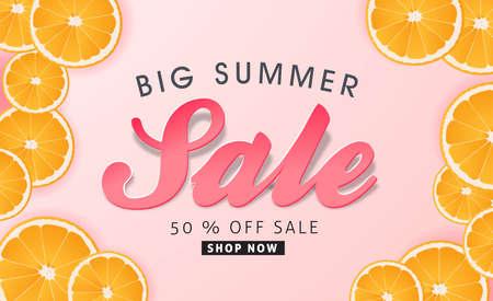 Zomer verkoop achtergrond lay-out banners versieren met sinaasappel.voucher korting. Vector illustratie sjabloon. Stock Illustratie