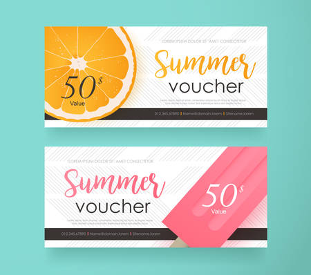 Summer Gift Voucher discount template with colorful pattern.Vector illustration.