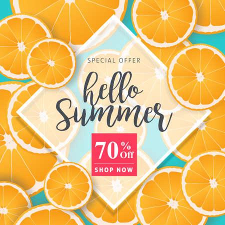 Zomer verkoop achtergrond lay-out banners versieren met sinaasappel.voucher korting. Vector illustratie sjabloon. Stockfoto - 82347843