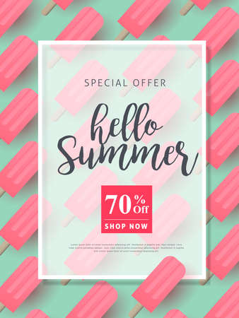 Summer sale background layout banners decorate with pink ice cream.voucher discount.Vector illustration template.
