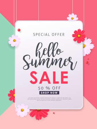Summer sale background layout banners .voucher discount.Vector illustration template. Illustration