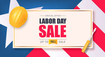 Labor day sale promotion advertising banner template. American labor day wallpaper.voucher discount.Vector illustration . Stok Fotoğraf - 82756242
