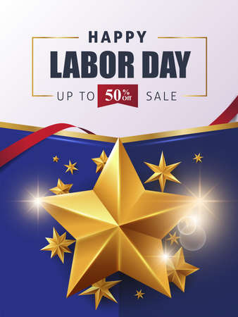 Labor day sale promotion advertising banner template.American labor day wallpaper.voucher discount.