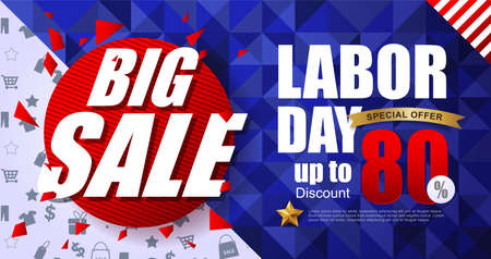 Labor day sale promotion advertising banner template.American labor day wallpaper voucher discount vector illustration