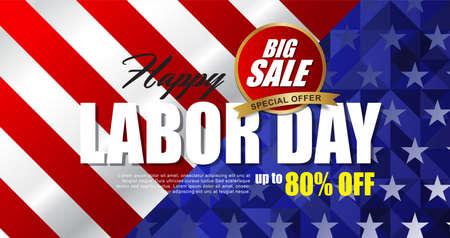 Dag van de Arbeid verkoop promotie reclame sjabloon voor spandoek. Amerikaanse dag van de arbeid wallpaper.voucher korting. Vectorillustratie.