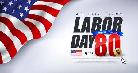 Fête du travail vente promotion publicité bannière modèle décor avec le drapeau américain. Banque d'images - 83254481