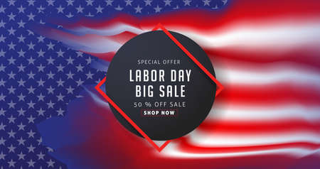 Labor day sale promotion advertising banner template decor with American flag vector illustration .