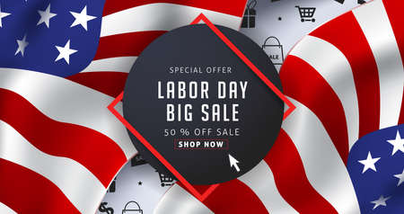 Labor day sale promotion advertising banner template decor with American flag .American labor day wallpaper.voucher discount.Vector illustration . 向量圖像