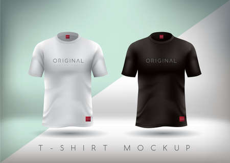 sleeve: White and Black t-shirt realistic mockup.T-shirt design slim-fitting with round neck. Vector illustration