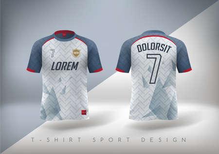 Koszulka piłkarska o dopasowanym kroju z okrągłym dekoltem. Ilustracji wektorowych