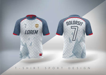 Soccer t-shirt design slim-fitting with round neck. Vector illustration Çizim