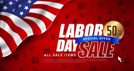 미국 국기와 함께 노동절 판매 홍보 광고 배너 템플릿 장식. 미국 노동 하루 벽지입니다. 할인 혜택입니다. 벡터 일러스트 레이 션. 일러스트