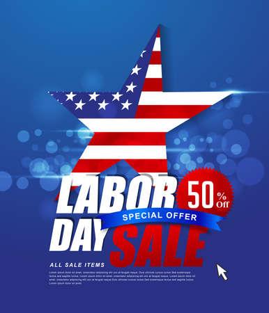 De bevordering van de de dagverkoop van de arbeid het malplaatjedecor van de reclamebanner met Amerikaanse vlag. Het Amerikaanse behang van de arbeidsdag Bonversie Vector illustratie.