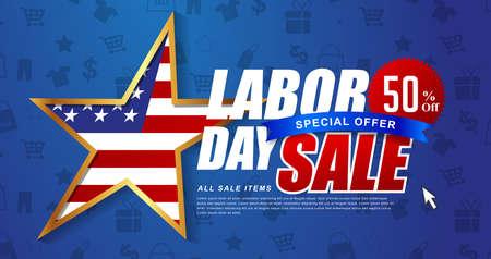 労働者の日販売促進広告バナー テンプレート装飾アメリカの国旗と。アメリカの労働者の日 wallpaper.voucher 割引。ベクトルの図。  イラスト・ベクター素材