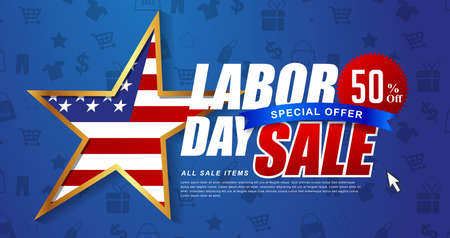 Labor day sale promotion advertising banner template decor with American flag .American labor day wallpaper.voucher discount.Vector illustration . Vettoriali