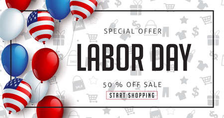 Labor day sale promotion advertising banner template decor with American flag balloons design .American labor day wallpaper.voucher discount.Vector illustration . Zdjęcie Seryjne - 83558109