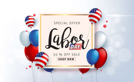 Labor day sale promotion advertising banner template decor with American flag balloons design .American labor day wallpaper.voucher discount.Vector illustration . Illusztráció